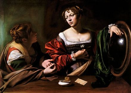 Caravaggio, Michelangelo Merisi da: Martha and Mary Magdalene. Fine Art Print/Poster. Sizes: A4/A3/A2/A1 (002085)
